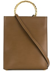 Marni Bracelet Handle Shopping Bag Brown