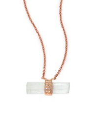 Jacquie Aiche Aquamarine Diamond And 14K Rose Gold Aura Bar Pendant Necklace