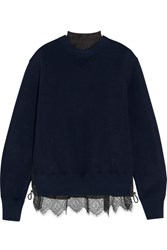 Sacai Lace Trimmed Cotton Blend Jersey And Laser Cut Poplin Sweatshirt Navy