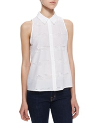 Equipment Eyelet Stripe Sleeveless Top Bright White