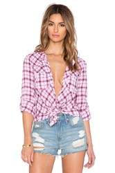 Candc California Breezy Plaid Shirt Pink
