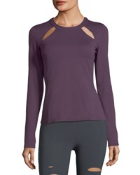 Alo Yoga Mantra Long Sleeve Fitted Performance Top W Cutouts Dark Purple