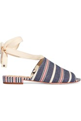 Sam Edelman Tai Striped Woven Canvas Sandals Blue