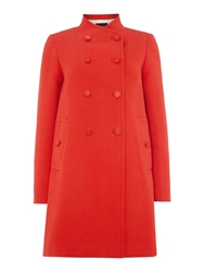 Tara Jarmon Double Breasted Round Neck Coat Coral