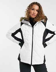 Roxy Snow Mountain Breeze Ski Jacket In Quilted White