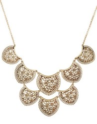 Lucky Brand Baltic Wonders Rock Crystal Tiered Lace Collar Necklace Gold