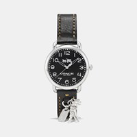 Coach Delancey Leather Strap Watch With Rexy Charm Black