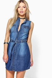 Boohoo Belted Button Front Denim Dress Indigo
