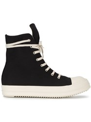Rick Owens Drkshdw Canvas High Top Sneakers Men Cotton Leather Polyamide Rubber 40.5 Black