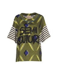 Erika Cavallini Semi Couture Erika Cavallini Semicouture Topwear T Shirts Women Military Green
