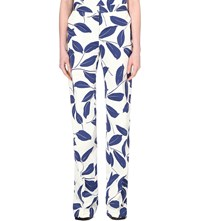 Marni Leaf Printed Cotton Blend Trousers Electric Blue
