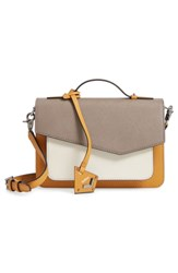 Botkier Cobble Hill Leather Crossbody Bag Brown Truffle Color Block