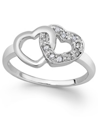Macy's Diamond Double Heart Ring In Sterling Silver 1 10 Ct. T.W.