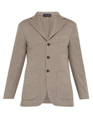Thom Sweeney Single Breasted Knitted Wool Blazer Light Brown