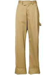 Rosie Assoulin Folded Hem Straight Trousers Nude Neutrals
