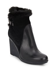Aquatalia By Marvin K Natalie Faux Fur Trimmed Leather And Suede Wedge Bootie Black