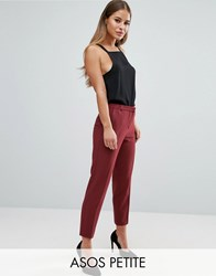Asos Petite Ankle Grazer Cigarette Trousers In Crepe Dusky Plum Red