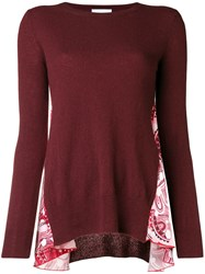 Dondup Side Printed Panel Sweater Red