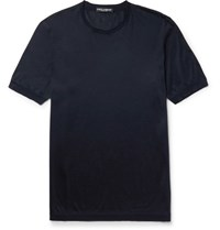 Dolce And Gabbana Slim Fit Silk T Shirt Navy