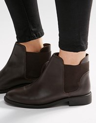 Asos American Leather Chelsea Boots Choc Leather Brown