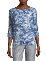 Jones New York Boatneck Blouse China Blue