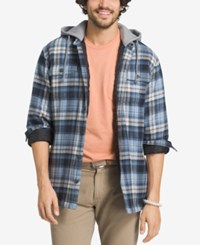 G.H. Bass And Co. Men's Plaid Flannel Hoodie Blue Bering Sea