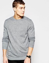 Asos Crew Neck Jumper In Grey Grey