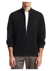 Saks Fifth Avenue Collection Wool Zip Up Sweater Black