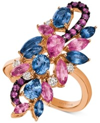 Le Vian Precious Collection Multi Gemstone 3 1 2 Ct. T.W. And Diamond 1 6 Ct. T.W. Cluster Ring In 14K Rose Gold Blue