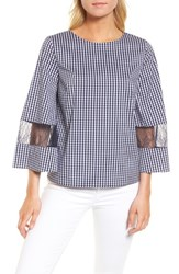 Chelsea 28 Chelsea28 Gingham And Lace Blouse Navy Evening White Gingham