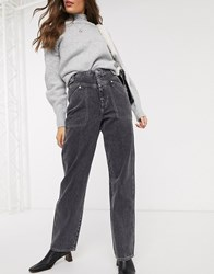 Topshop Wide Leg Jeans In Washed Black