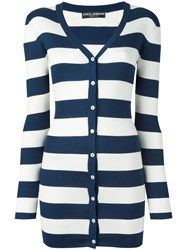 Dolce And Gabbana Striped Cardigan Blue