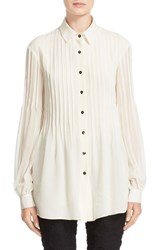St. John Women's Collection Pintuck Pleated Silk Georgette Tunic Blouse