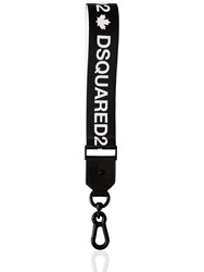 Dsquared Logo Webbing Key Chain Black White