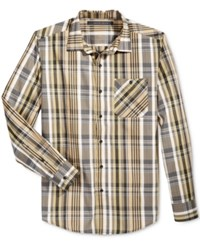 Sean John Men's Plaid Shirt Kelp