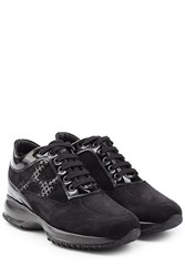 Hogan Suede And Patent Leather Platform Sneakers Black