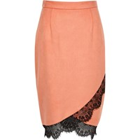 River Island Womens Pink Faux Suede Lace Hem Pencil Skirt