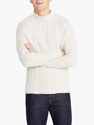 J.Crew Cotton Solid Roll Neck Cable Jumper Heather Natural