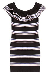 Msgm Striped Cotton Dress Multicolor