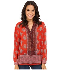 Kut From The Kloth Sophia Rosewood Women's Long Sleeve Button Up Red