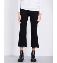 Izzue Flared Mid Rise Twill Trousers Black