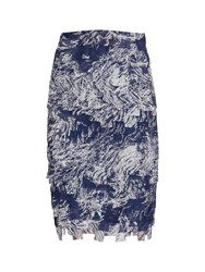 Gina Bacconi Navy Off White Fringe Chiffon Skirt Navy