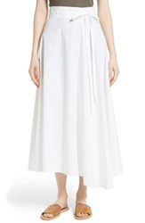 Theory Women's Jaberdina Poplin Midi Skirt White