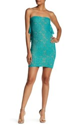 Dress The Population Lisa Strapless Lace Minidress Blue