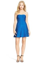 Herve Leger Strapless Bandage Fit And Flare Dress Blue
