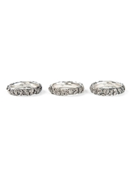 Ugo Cacciatori Three Pack Leaves Engraved Rings Metallic