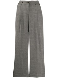 Twin Set High Waisted Wide Leg Trousers Grey