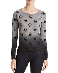 Aqua Dip Dye Skull Sweater Heather Grey Black
