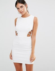 Rare Cut Out Bodycon Dress With Clasp Detail Cream