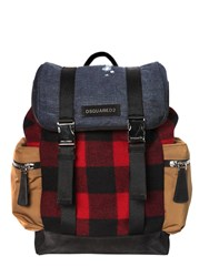 Dsquared Checked Wool And Denim Backpack